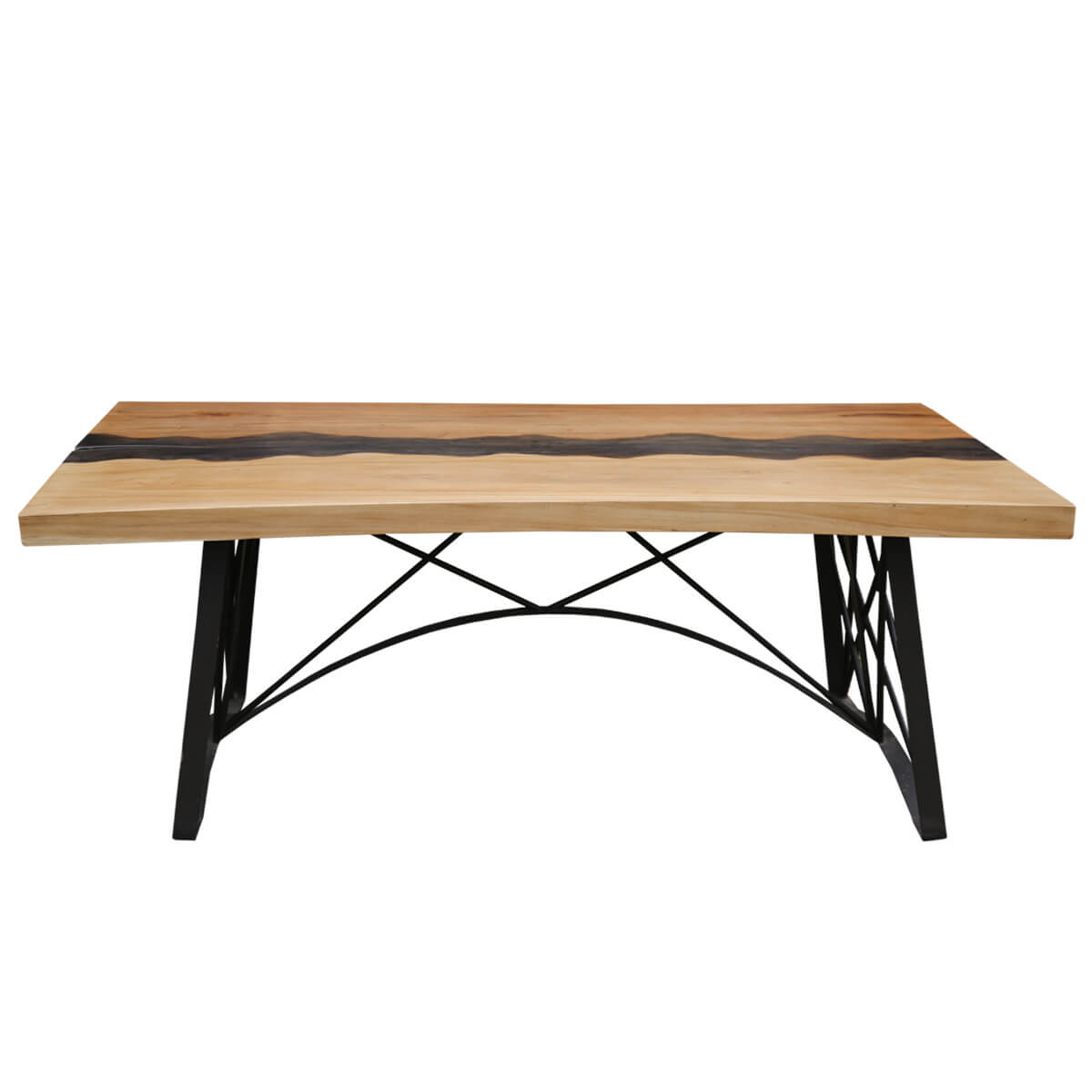 Torrance Iron Base Live Edge Large Industrial Dining Table - Torrance dining table