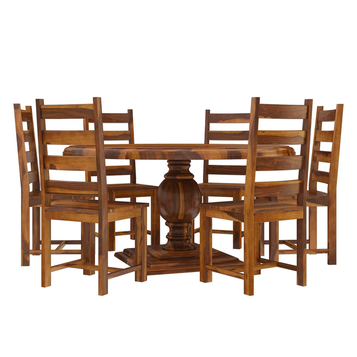 cloverdale solid wood round dining table with 6 chairs set. Black Bedroom Furniture Sets. Home Design Ideas