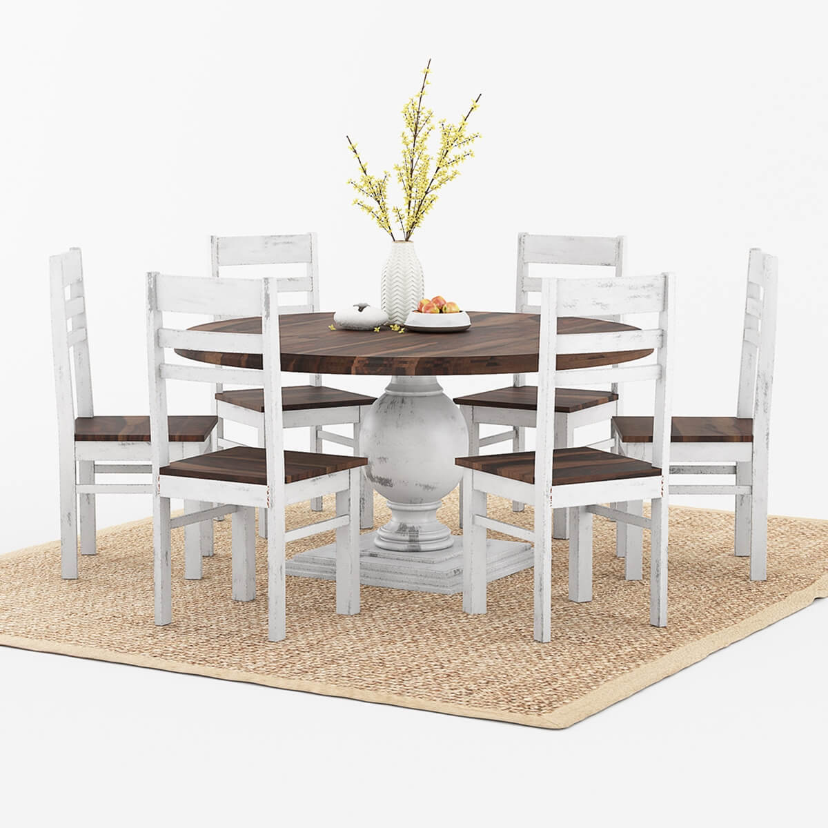 Two Chair Dining Table Set: Illinois Modern Two Tone Large Round Dining Table With 8