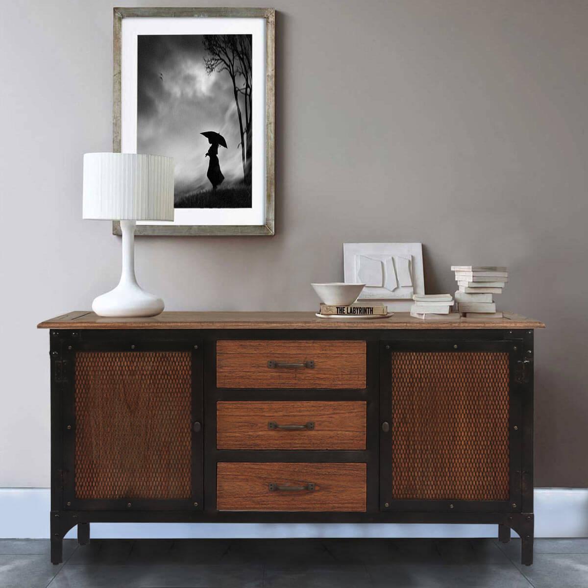 Kenton Reclaimed Teak Wood 3 Drawer Industrial Sideboard Cabinet