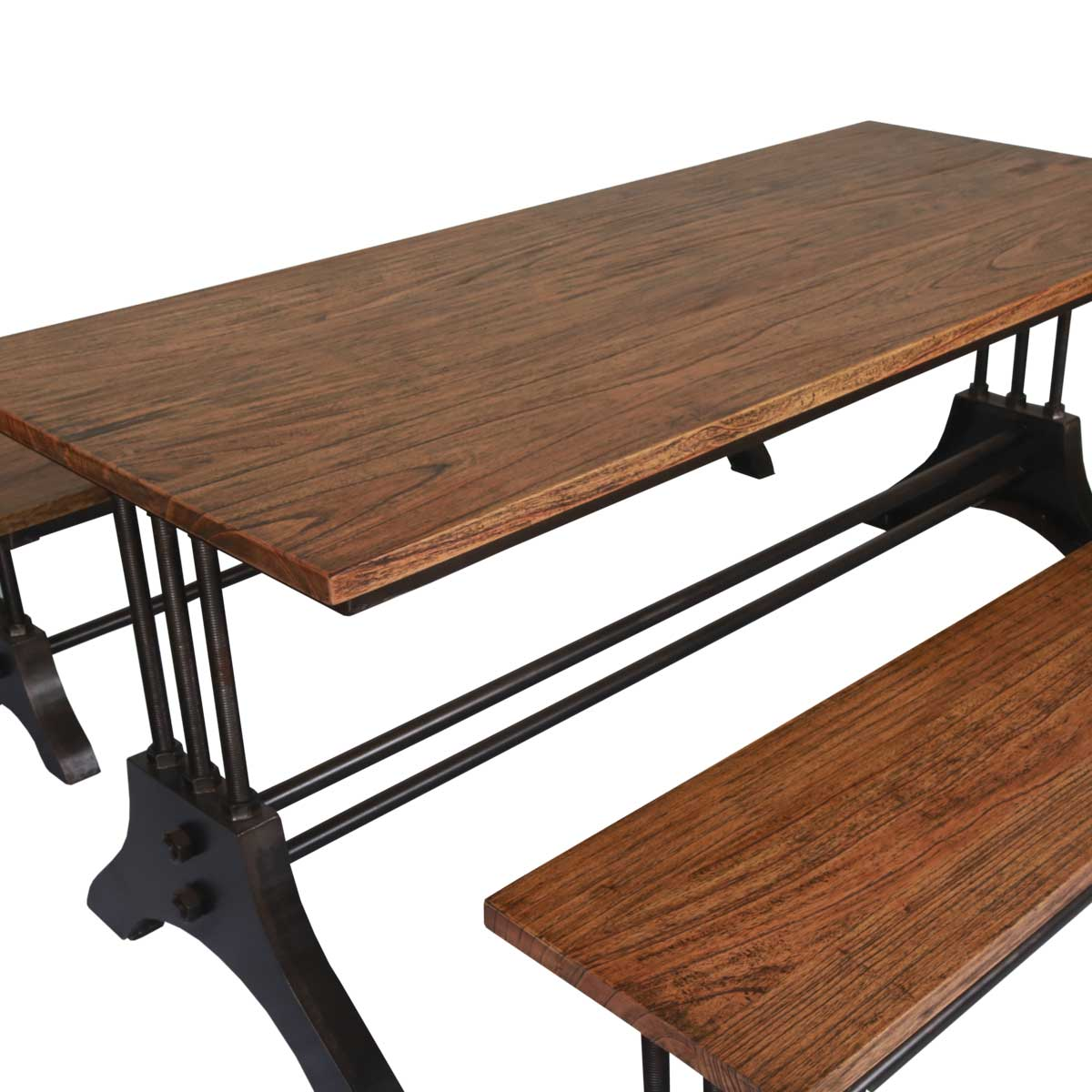 Amanda Trestle Base Reclaimed Wood Industrial Dining Table