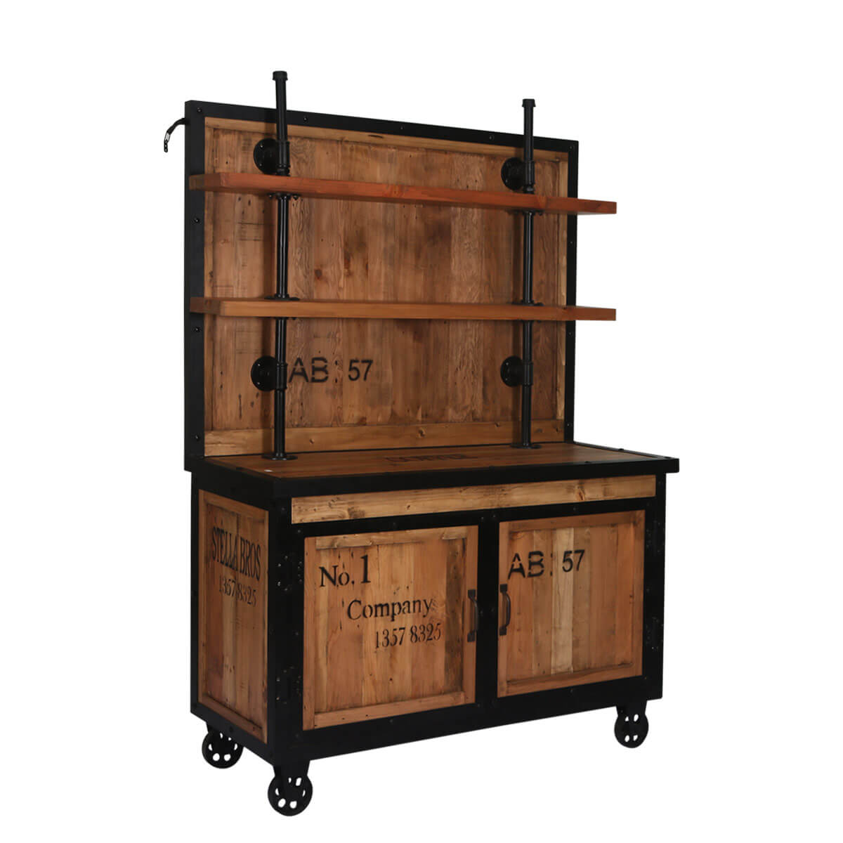 sc 1 st  Sierra Living Concepts & Mapleton Reclaimed Wood Rolling Wheel Industrial Storage Cabinet