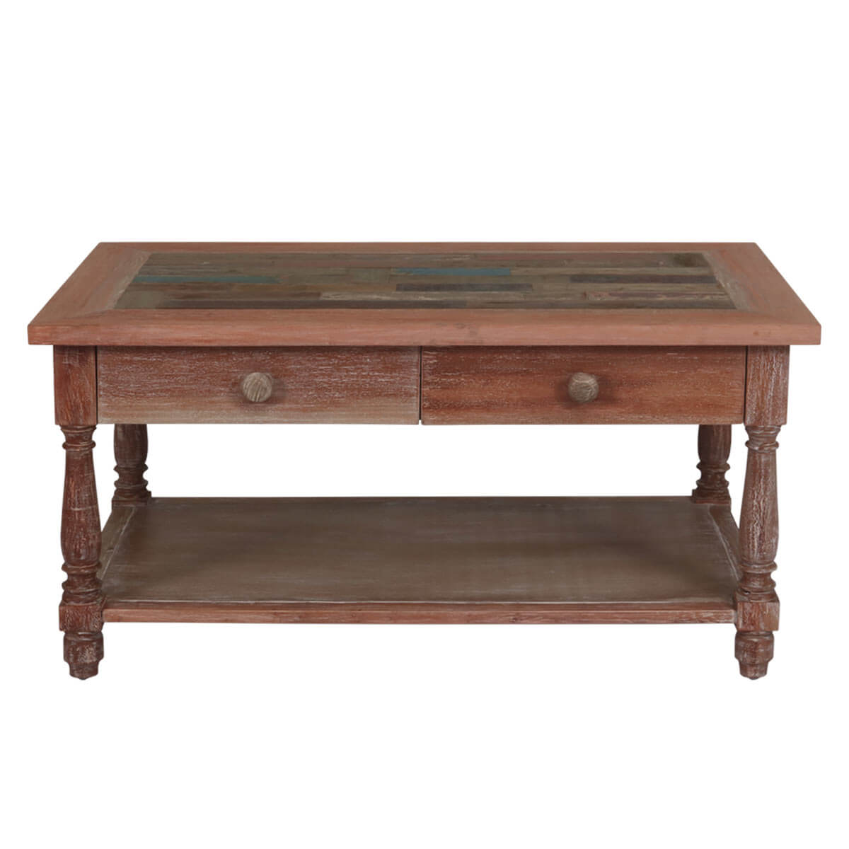 Industrial Wood Coffee Table Distressed Designs: Distressed Reclaimed Wood 2 Drawer Balustrade Coffee Table