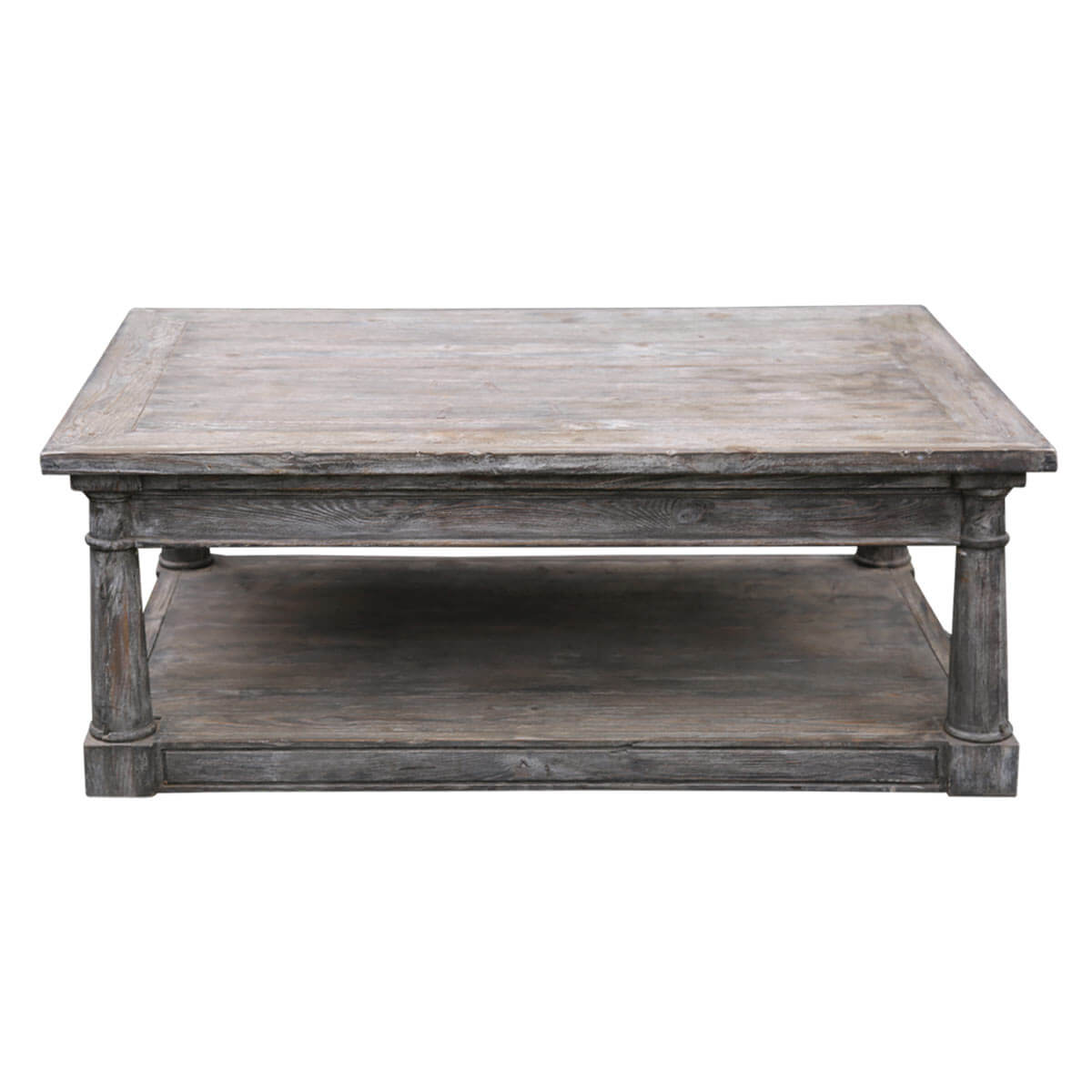 Chic Teak Coffee Table: Shabby Chic Rectangle Baluster Coffee Table Made Of Teak Wood