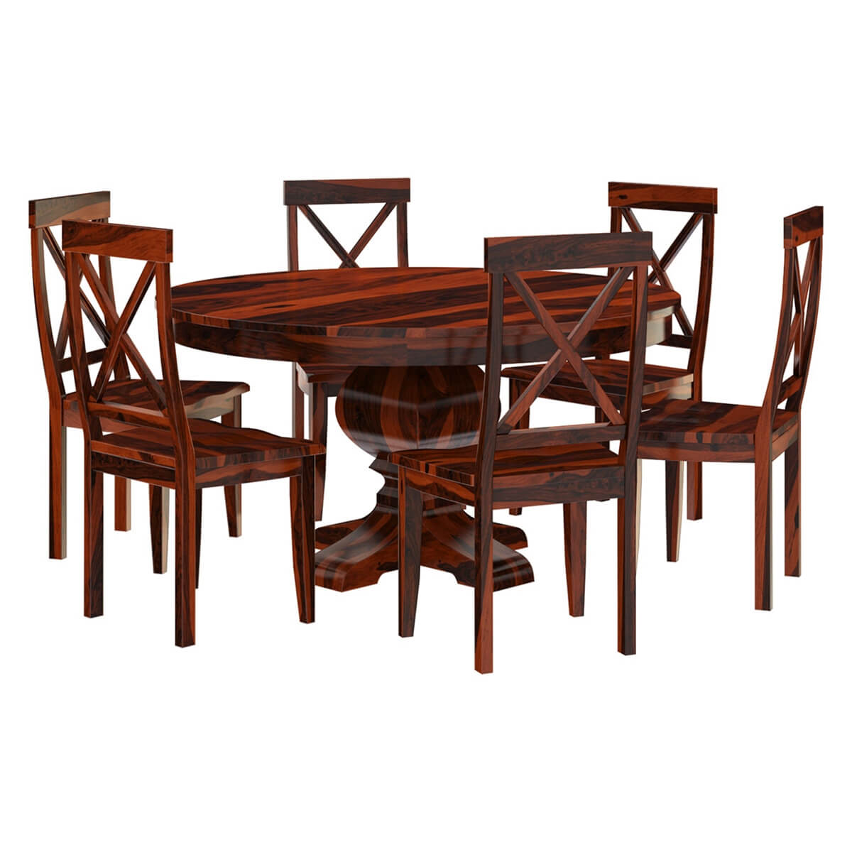Missouri solid wood round pedestal dining table and chairs for Pedestal dining table and chairs