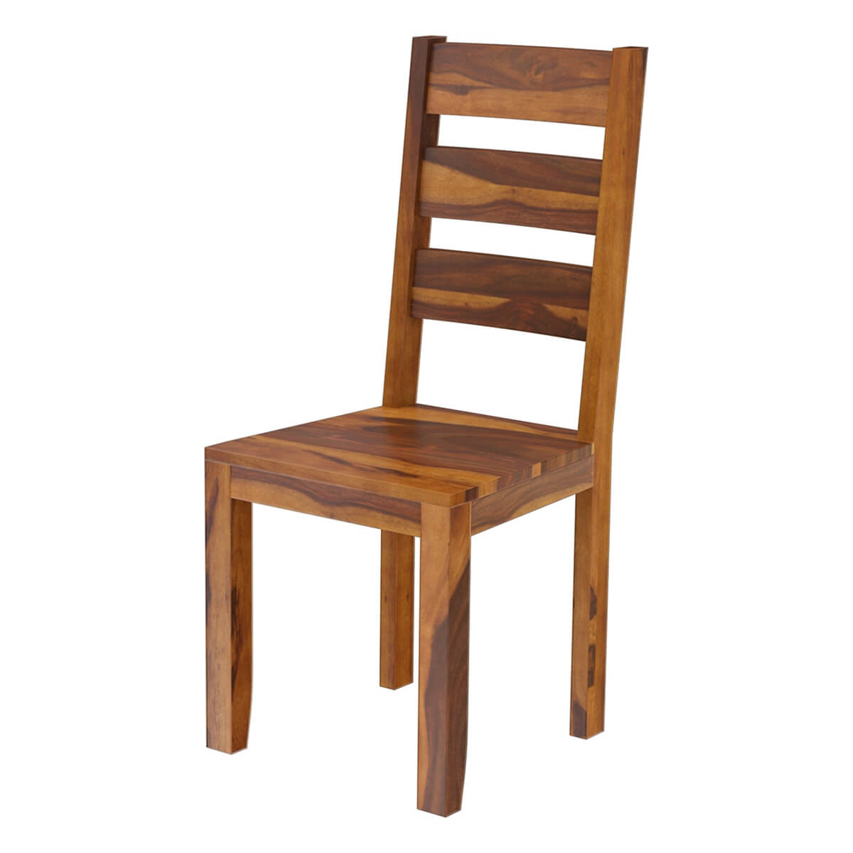 Rustic Modern Wood Dining Chair: Cariboo Contemporary Rustic Solid Wood Ladder Back Dining