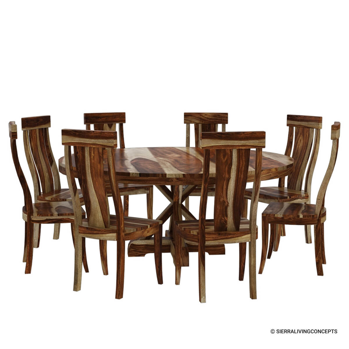 Dining Room Sets Wood: Bedford Rustic Solid Wood X Pedestal 10 Piece Round Dining