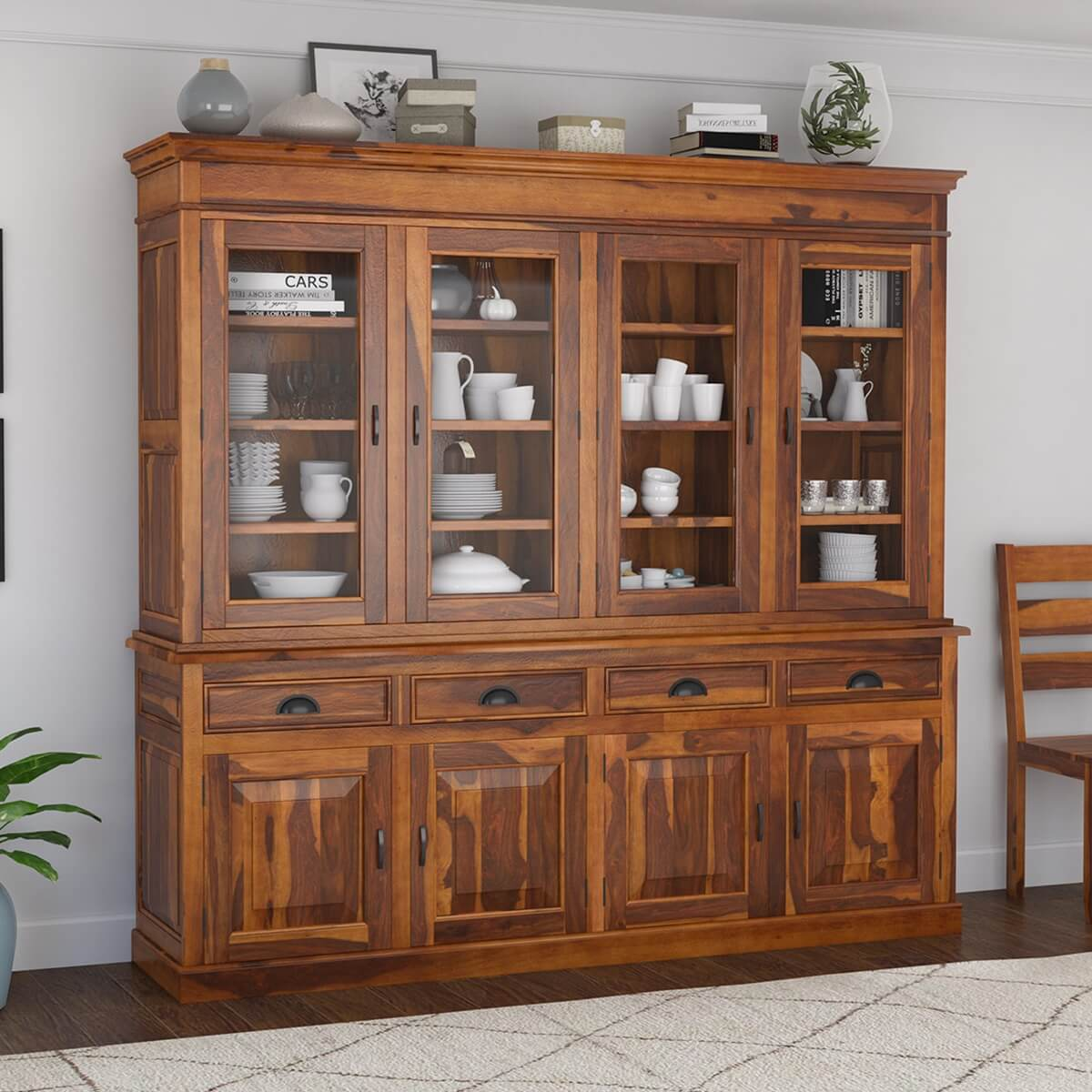 Cariboo Contemporary 84 Tall Rustic Solid Wood Large Buffet Hutch