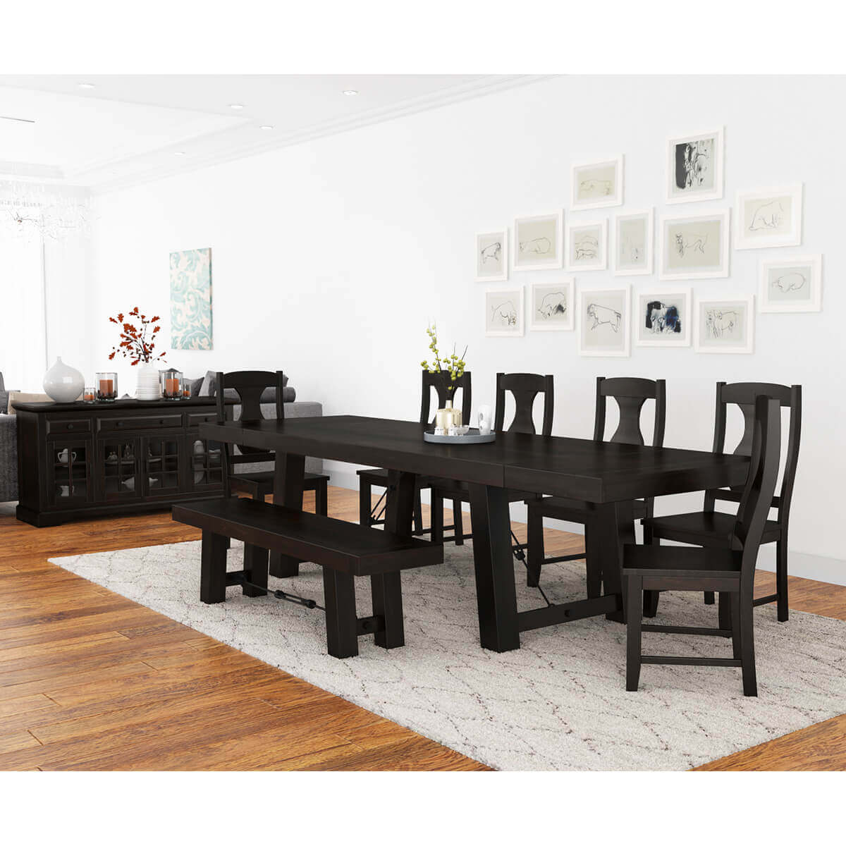 tirana rustic solid wood 9 piece large extensions dining room set. Black Bedroom Furniture Sets. Home Design Ideas