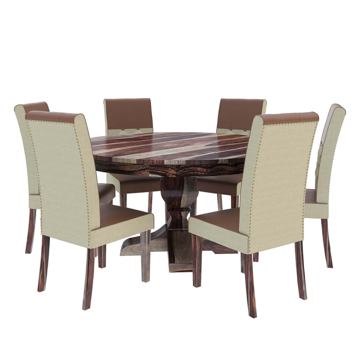 Solid Wood Dining Room Set: Hosford Handcrafted Solid Wood 8 Piece Round Dining Room Set