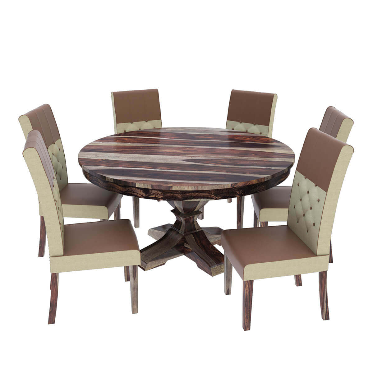 Wood Round Dining Table: Hosford Handcrafted Solid Wood Round Dining Table And 6
