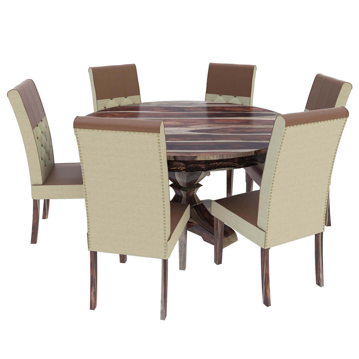 hosford handcrafted solid wood round dining table and 6 chairs set. Black Bedroom Furniture Sets. Home Design Ideas