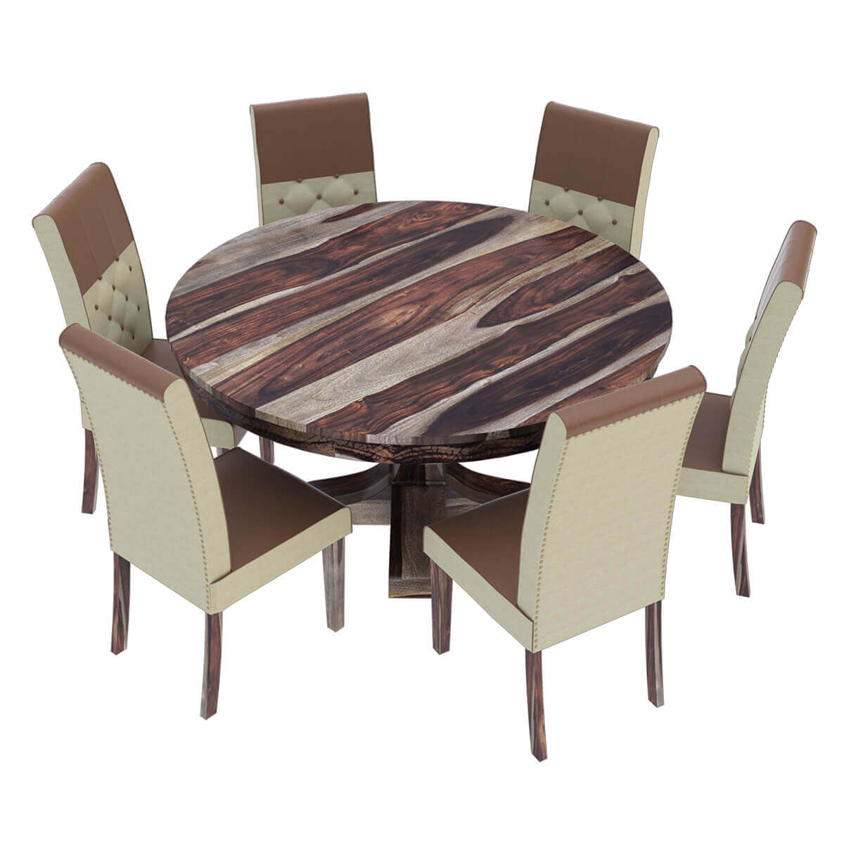 Round Dining Table With Fabric Chairs: Hosford Handcrafted Solid Wood Round Dining Table And 6