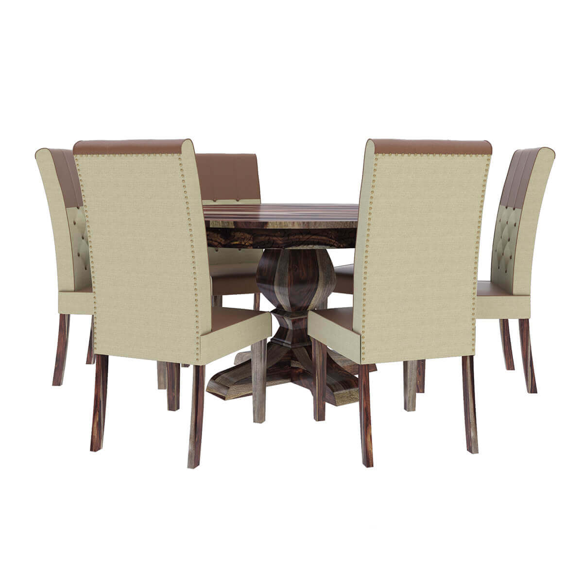 Solid Wood Table And Chairs: Hosford Handcrafted Solid Wood Round Dining Table And 6