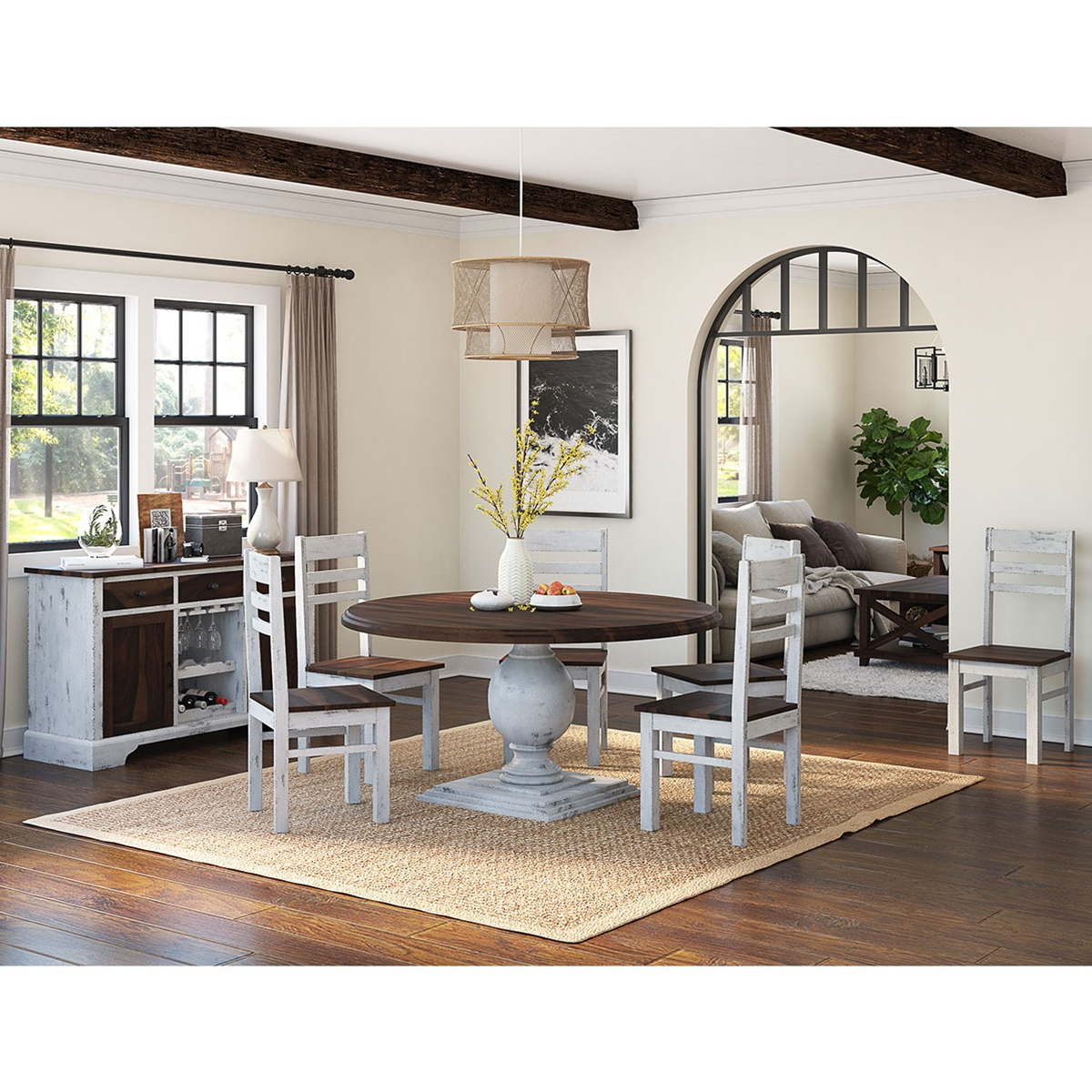 New Dining Room Sets: Illinois Modern Two Tone Solid Wood 10 Piece Round Dining