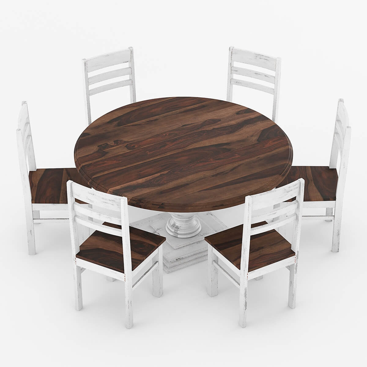 modern round dining room sets | Illinois Modern Two Tone Solid Wood 10 Piece Round Dining ...