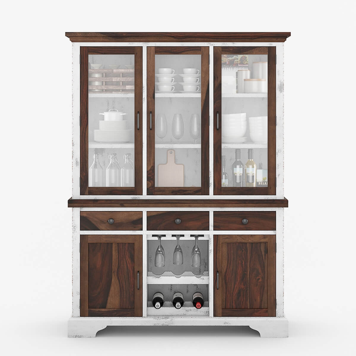 Wooden China Cabinet ~ Illinois modern two tone solid wood glass door dining