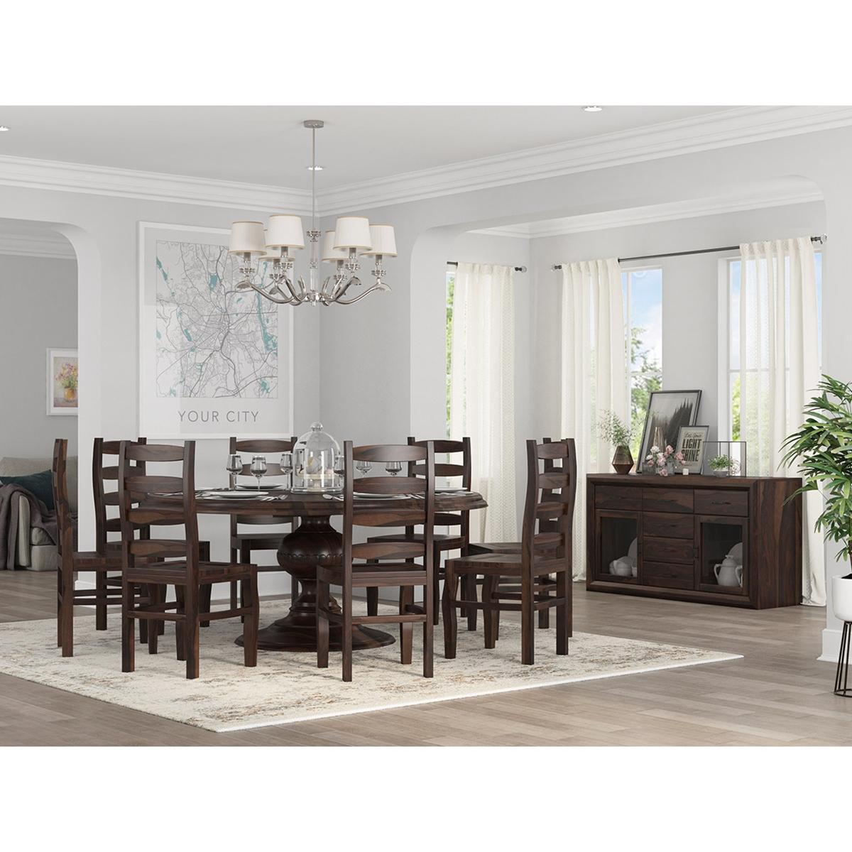 minsk rustic traditional rosewood 8 piece dining room set. Black Bedroom Furniture Sets. Home Design Ideas