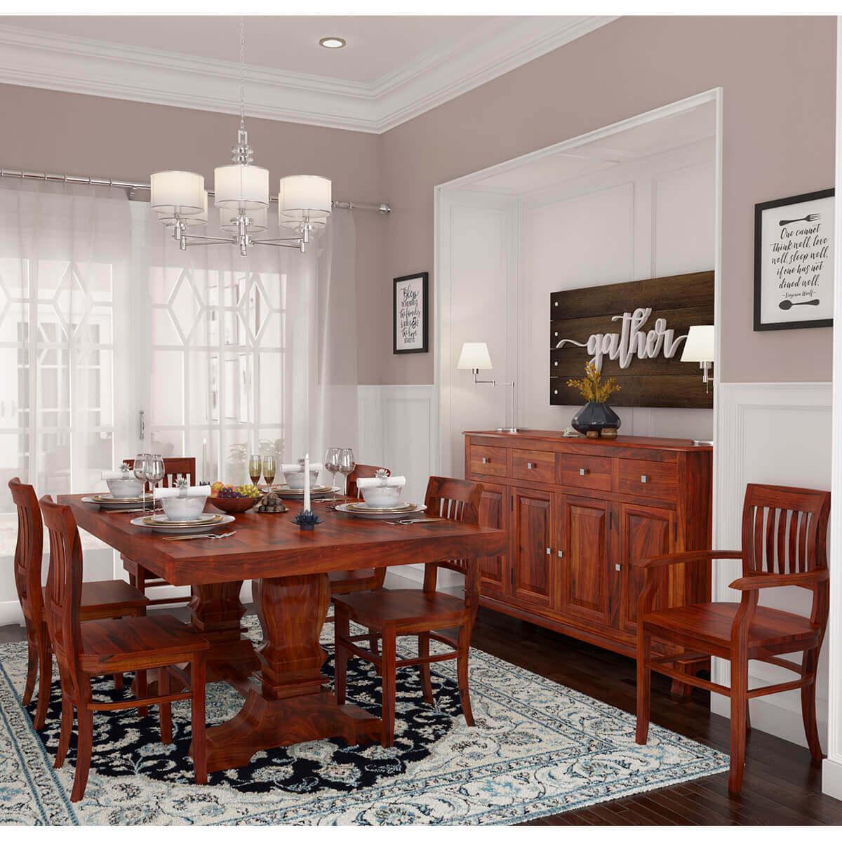 siena rustic solid wood 8 piece dining room set. Black Bedroom Furniture Sets. Home Design Ideas