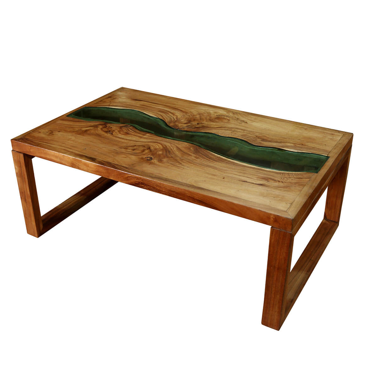 Wood For Coffee Table Top: Milwaukee Suar Wood Glass Top Rustic Coffee Table