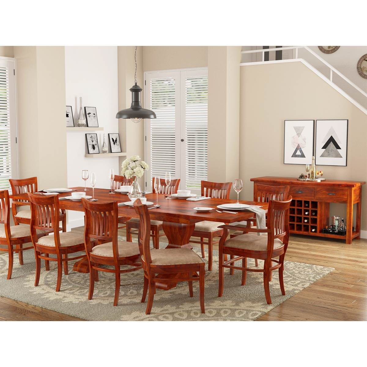 Rosewood Dining Room Set: Chantilly Chic Handcrafted Rosewood 12 Piece Dining Room Set