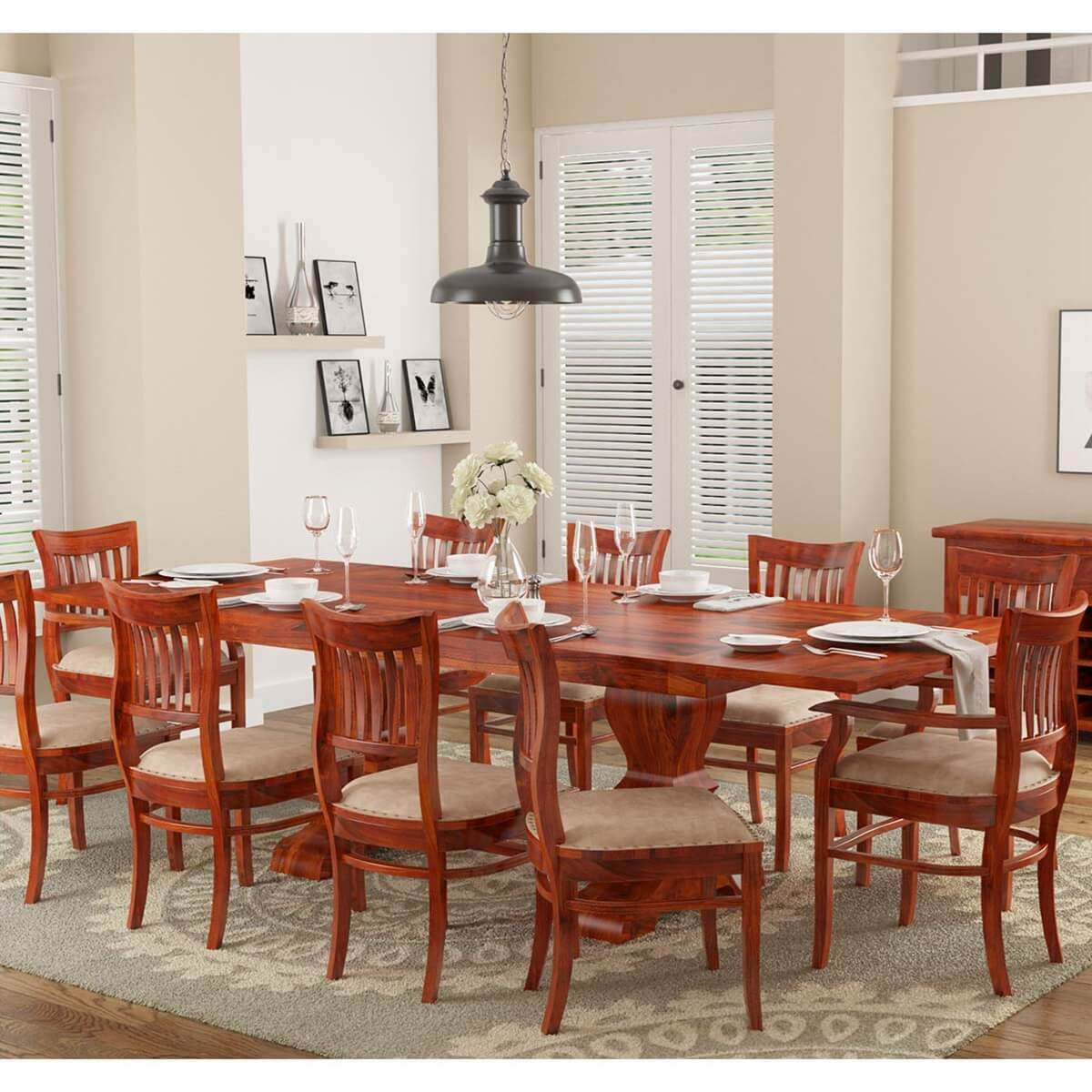 Chantilly Chic Solid Wood Extendable Dining Table And