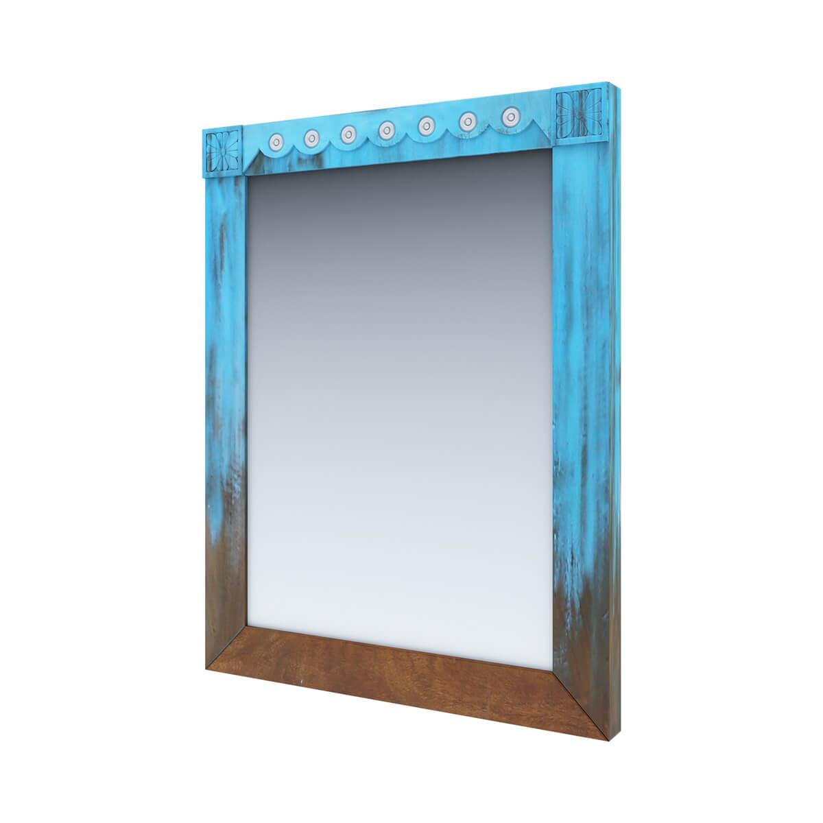 Empire Blue Dawn Rustic Solid Mango Wood Mirror Frame