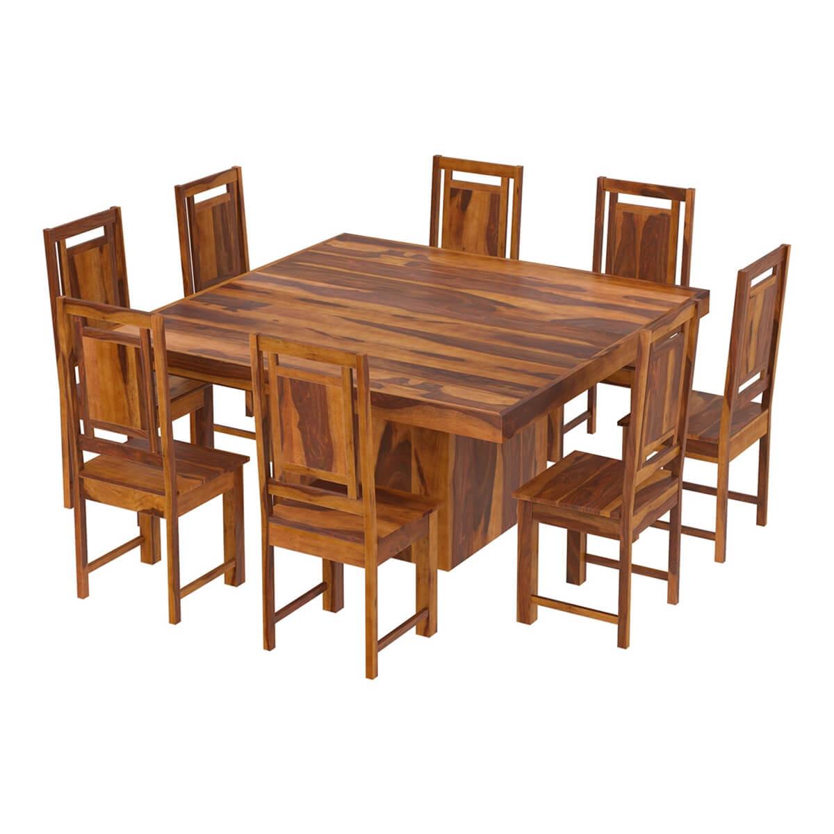Brocton Solid Wood Square Pedestal 10 Piece Dining Room Set