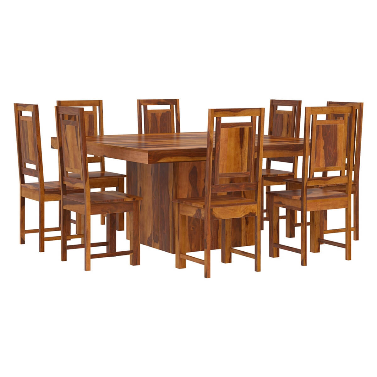 Wood Dining Room Sets: Brocton Solid Wood Square Pedestal 10 Piece Dining Room Set