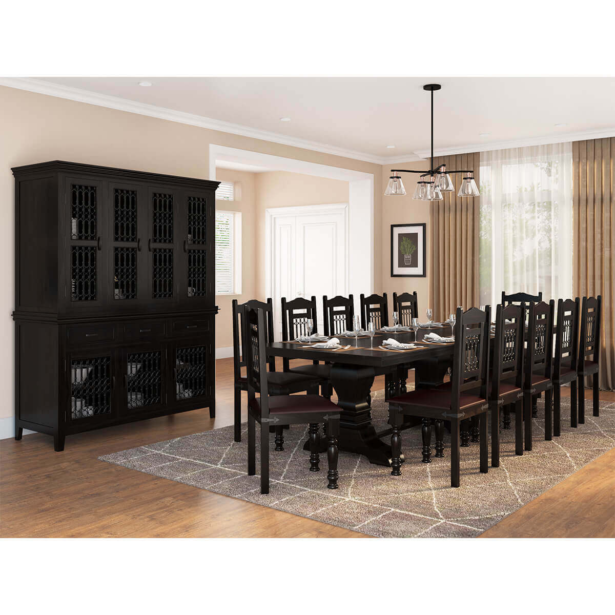 Solid Wood Dining Room Set: Harold Traditional Solid Wood 14 Piece Dining Room Set