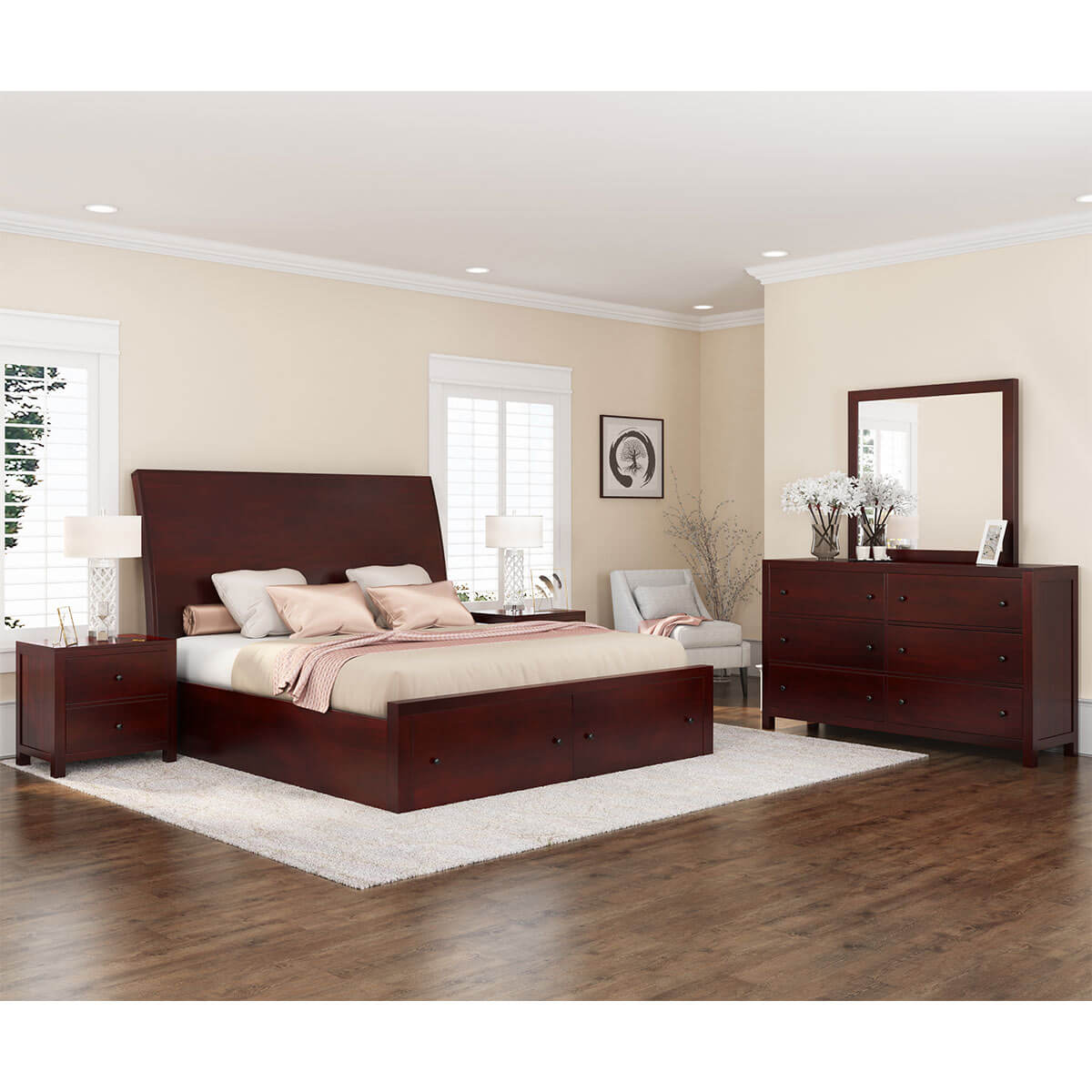 Petros transitional 6 piece california king size bedroom set for 6 piece king size bedroom sets