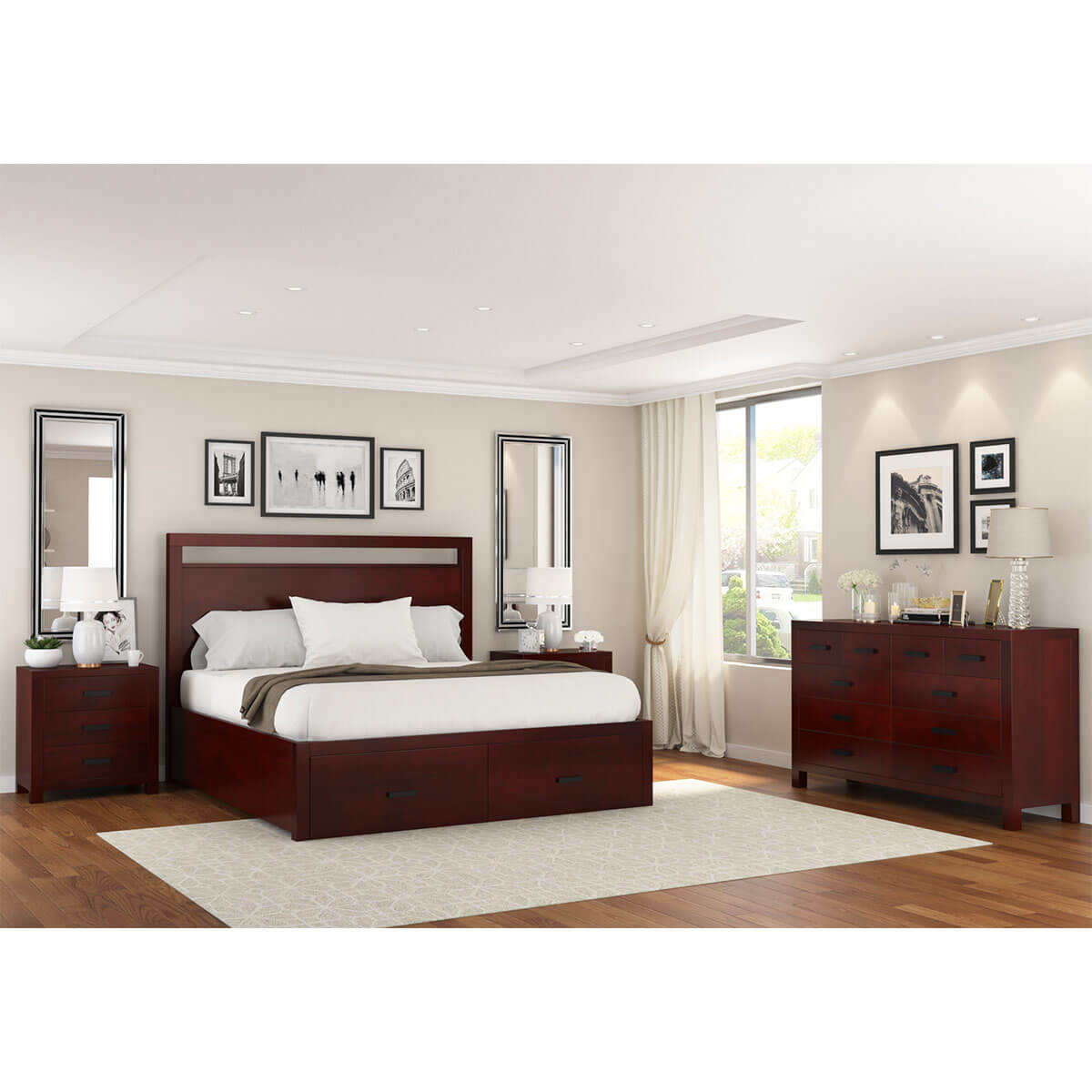 Transitional Bedroom Furniture: Anniston Transitional 4 Piece Bedroom Set
