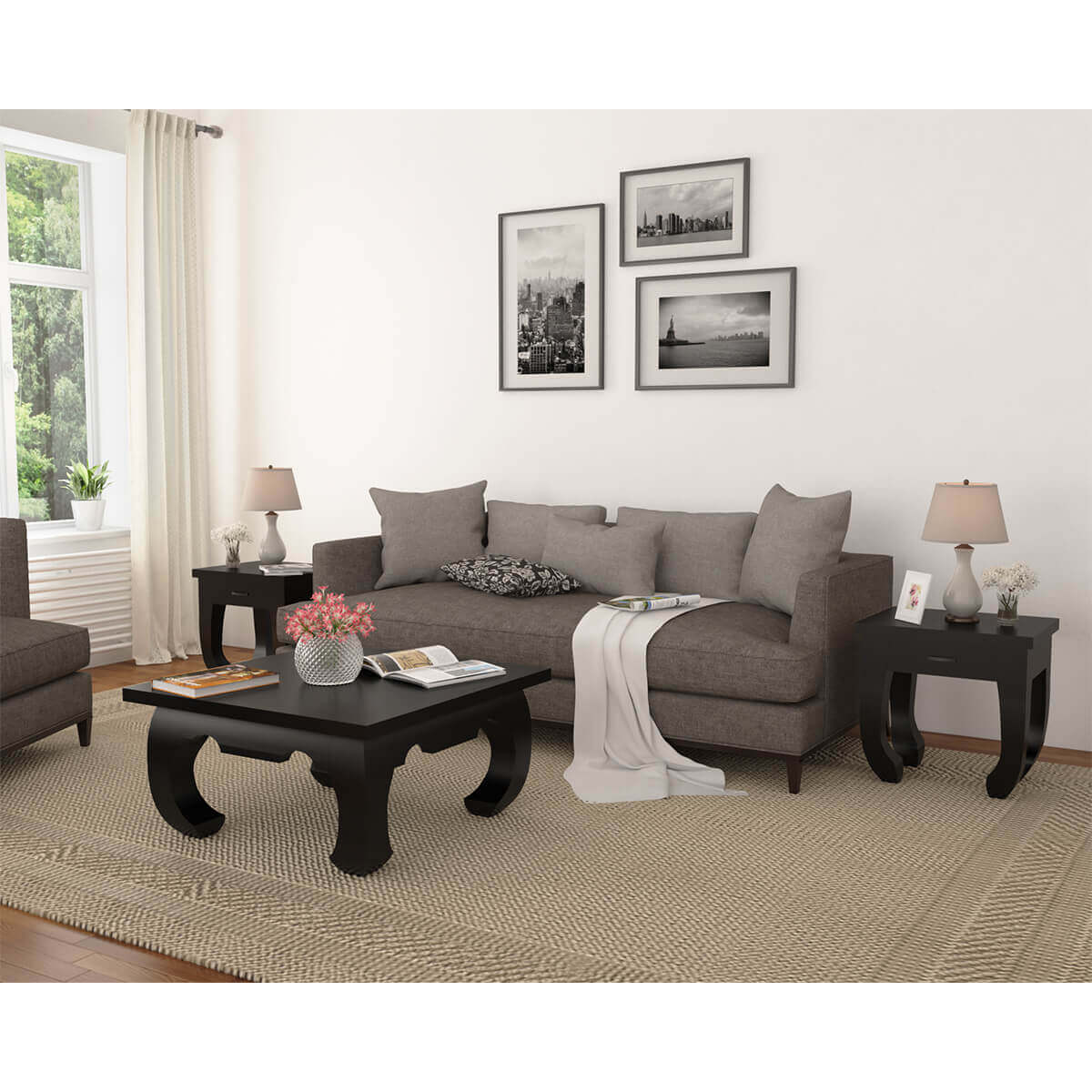 Black Solid Wood Coffee Table: Ming Asian Black Classical Style Solid Wood Coffee Table Set