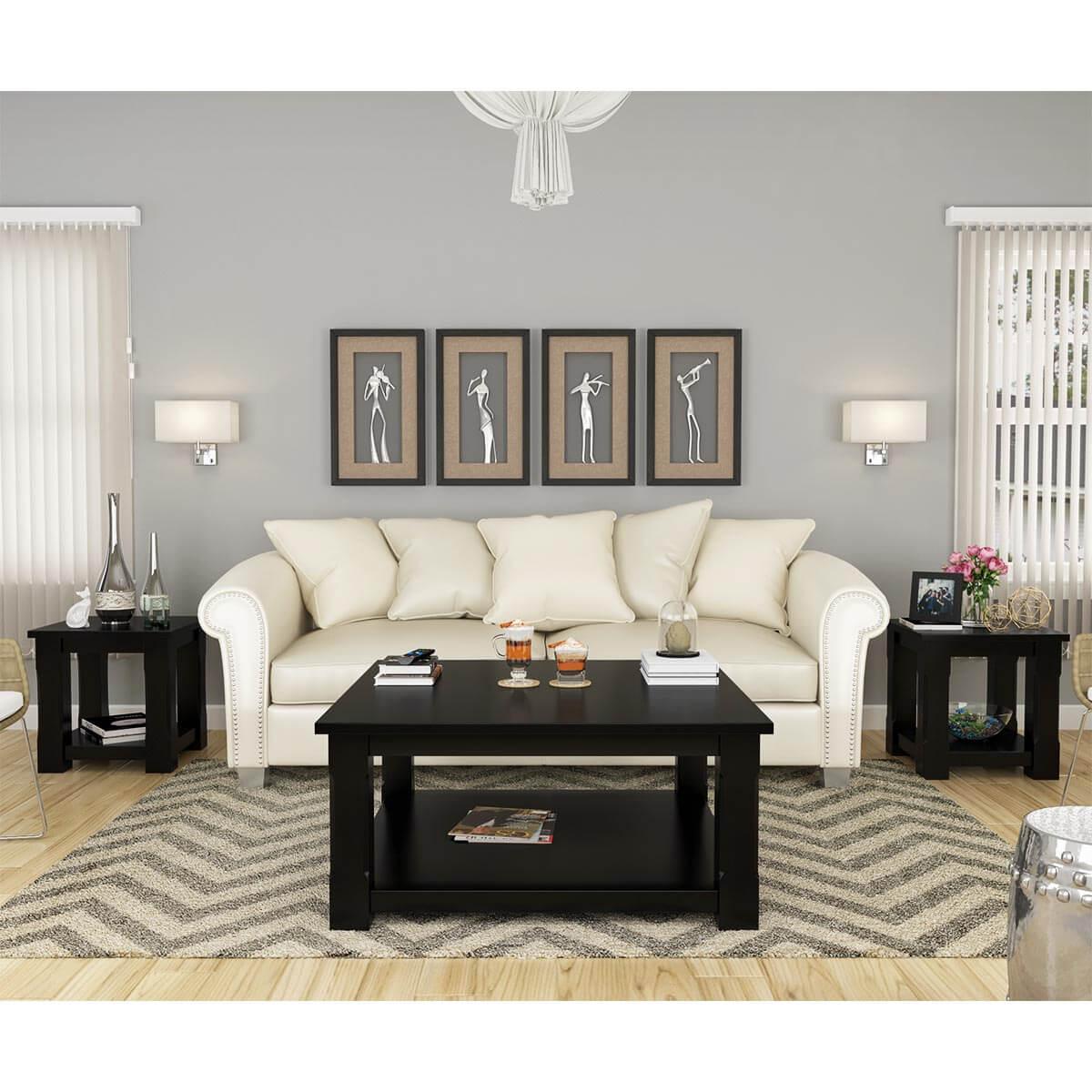 Black Solid Wood Coffee Table: Brimson Black Solid Wood 3 Piece Coffee Table Set