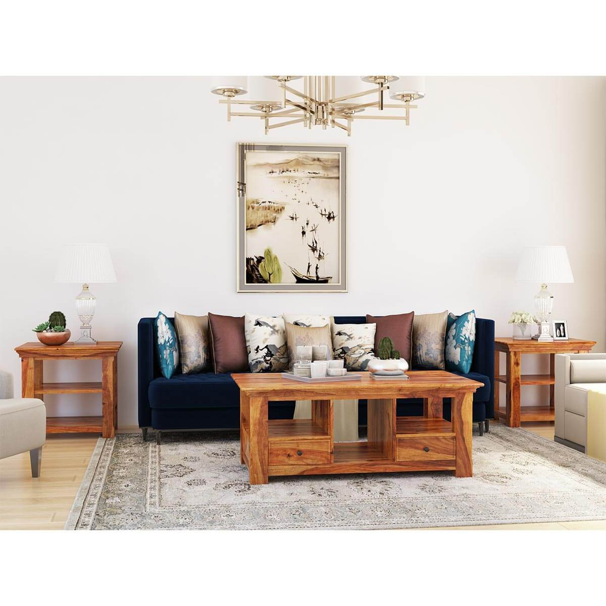 Priscus Midcentury Solid Wood 3 Piece Coffee Table Set