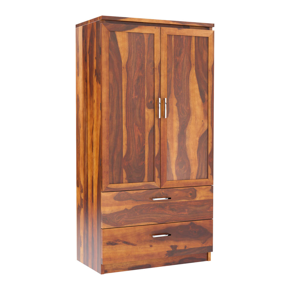 Caspian Rustic Solid Wood Wardrobe Armoire With Drawers