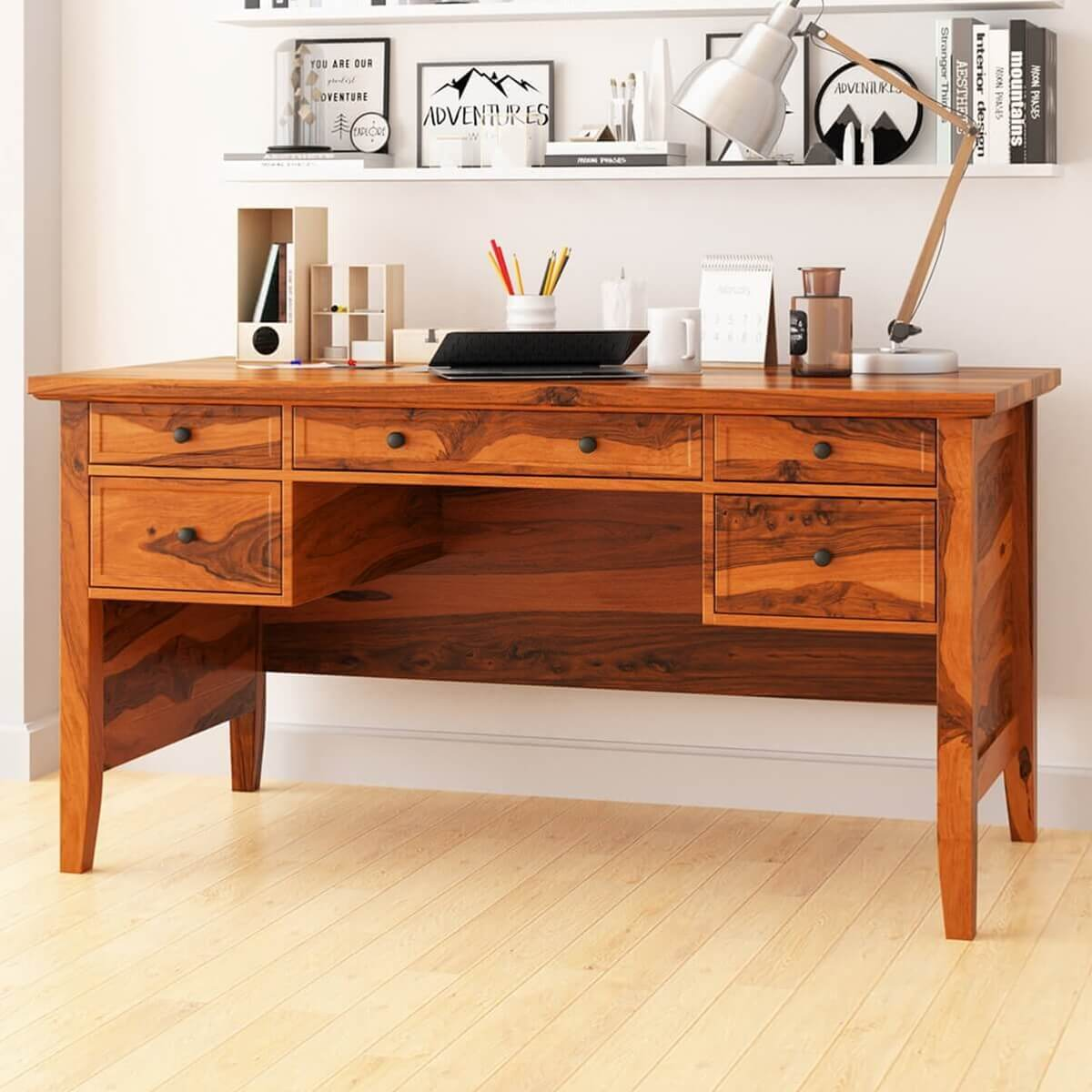 calypso rustic solid wood 5 drawer writing queen anne style desk. Black Bedroom Furniture Sets. Home Design Ideas