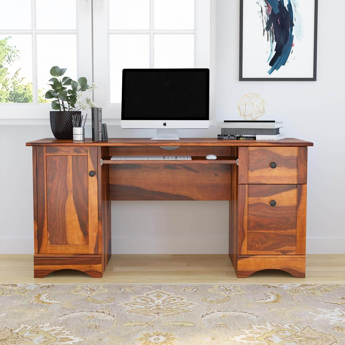 Gisela Rustic Solid Wood Computer Desk With Cabinet & Drawers