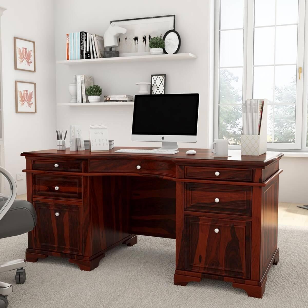 Rustic Americana Hardwood Executive Desk Home Office: Victorian Style Rustic Solid Wood Executive Desk