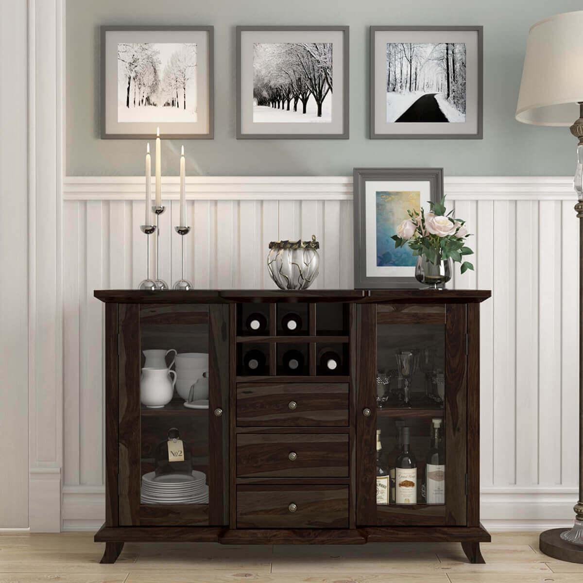 Coleville Solid Wood Glass Door 3 Drawer Rustic Sideboard