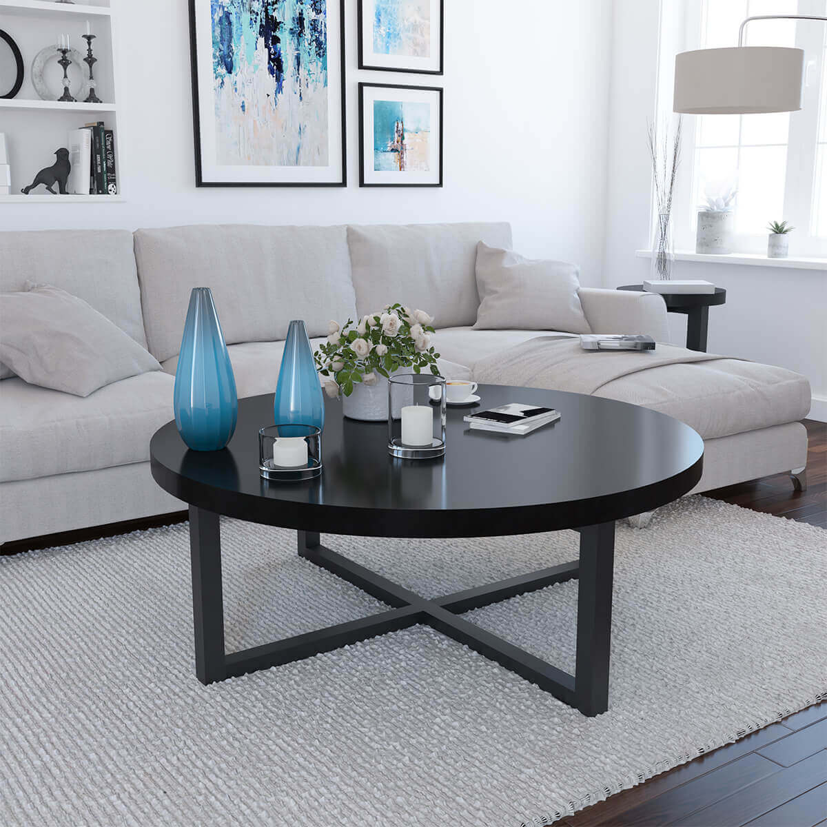 Solid Wood Curved Coffee Table: Traicere Contemporary Rustic Solid Wood Cross Base Round