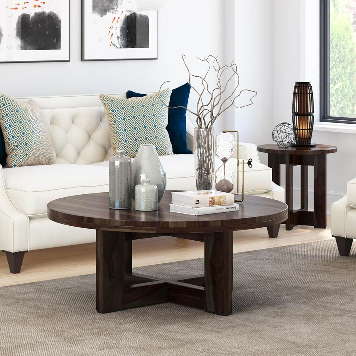 Rustic Round Wooden Coffee Table: Amargosa Contemporary Rustic Solid Wood Round Coffee Table