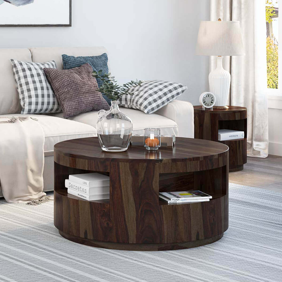 Rustic Round Wooden Coffee Table: Ladonia Rustic Solid Wood Round Coffee Table With Shelves