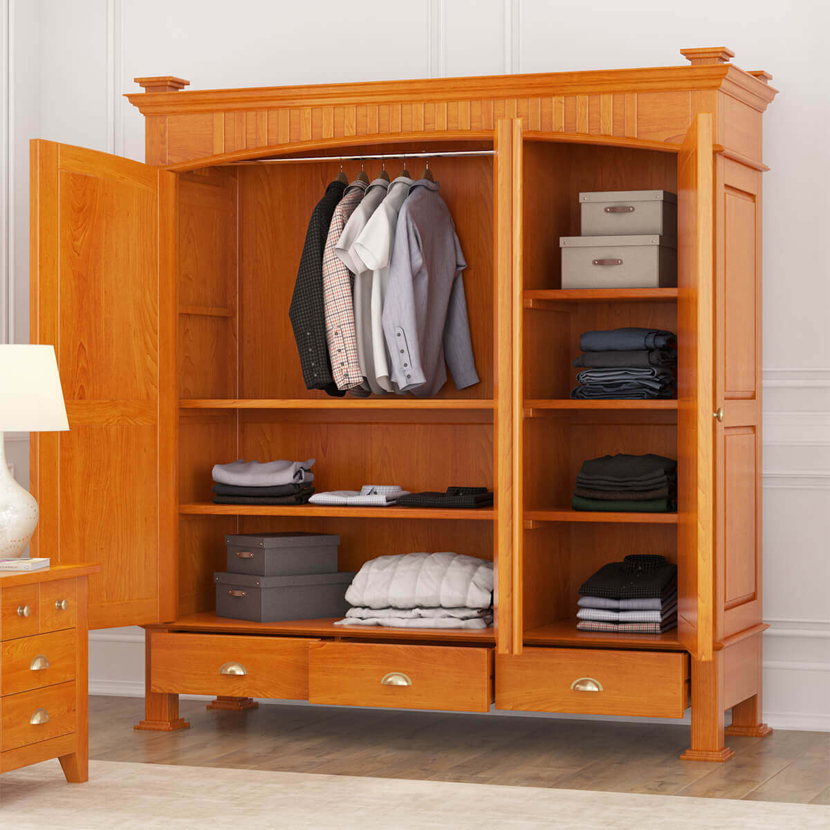 Longport Traditional Style Mahogany Wood 3 Door Large ...