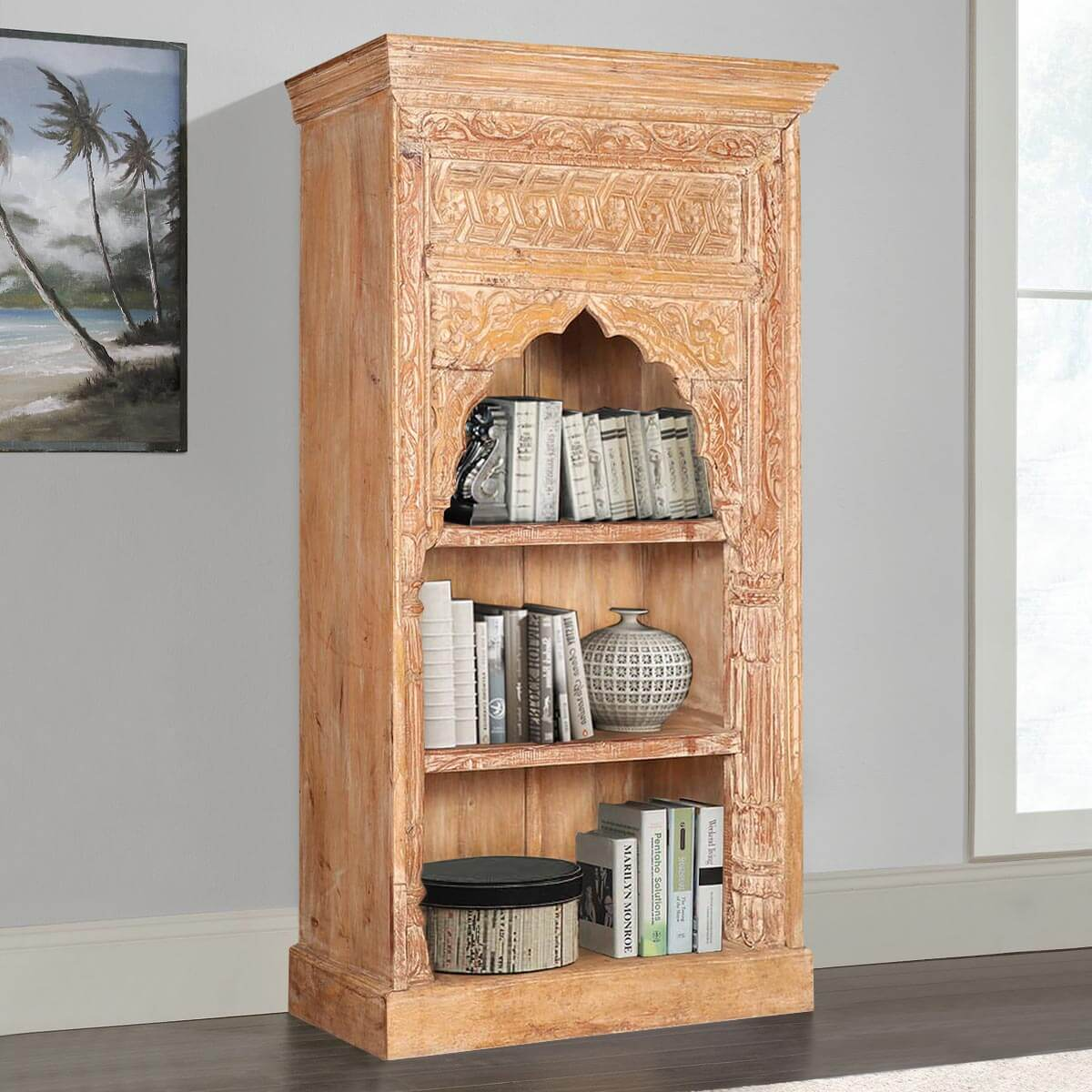 Alluwe Rustic Reclaimed Wood Hand Carved Arch Bookcase
