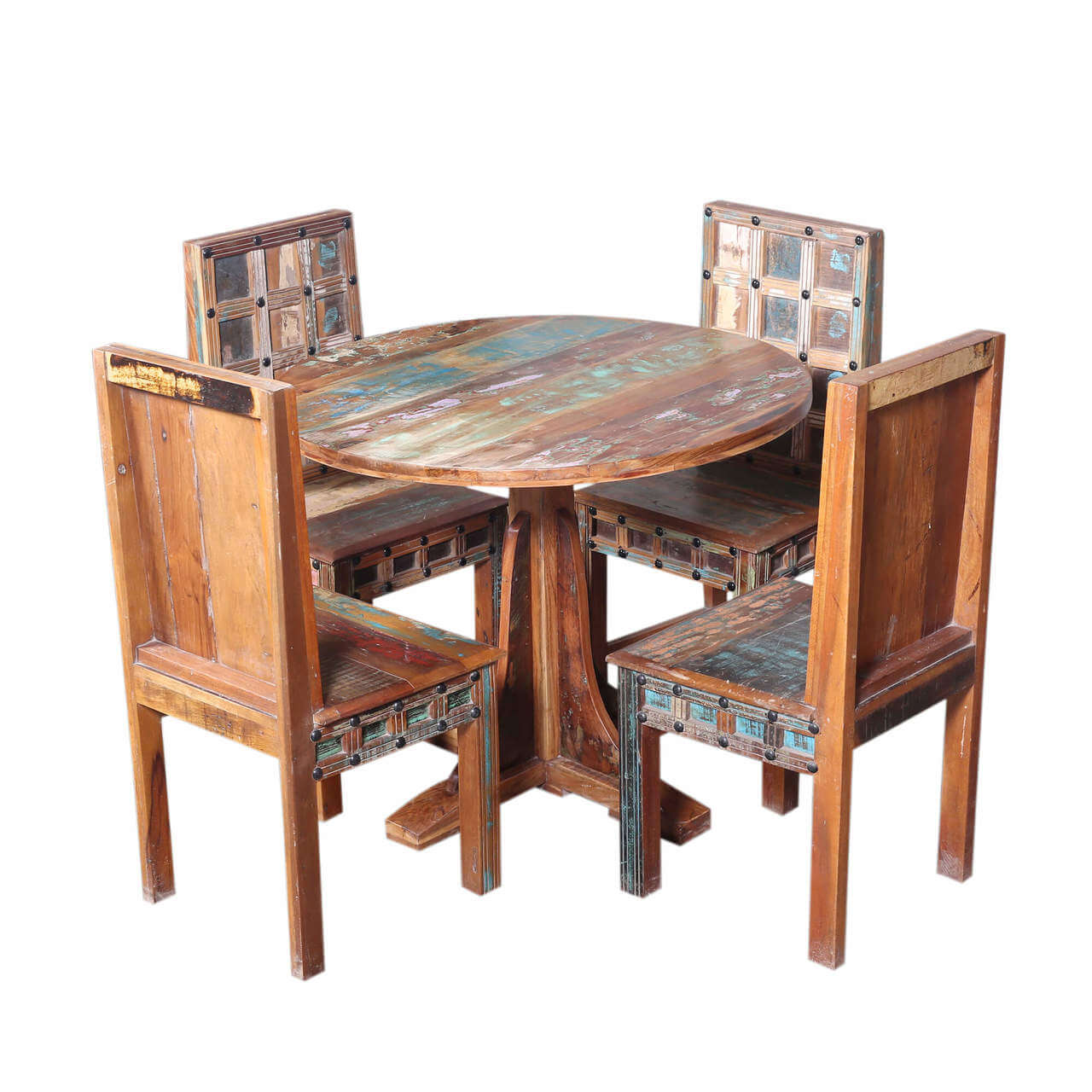 walstonburg reclaimed wood furniture round dining table and chair set. Black Bedroom Furniture Sets. Home Design Ideas