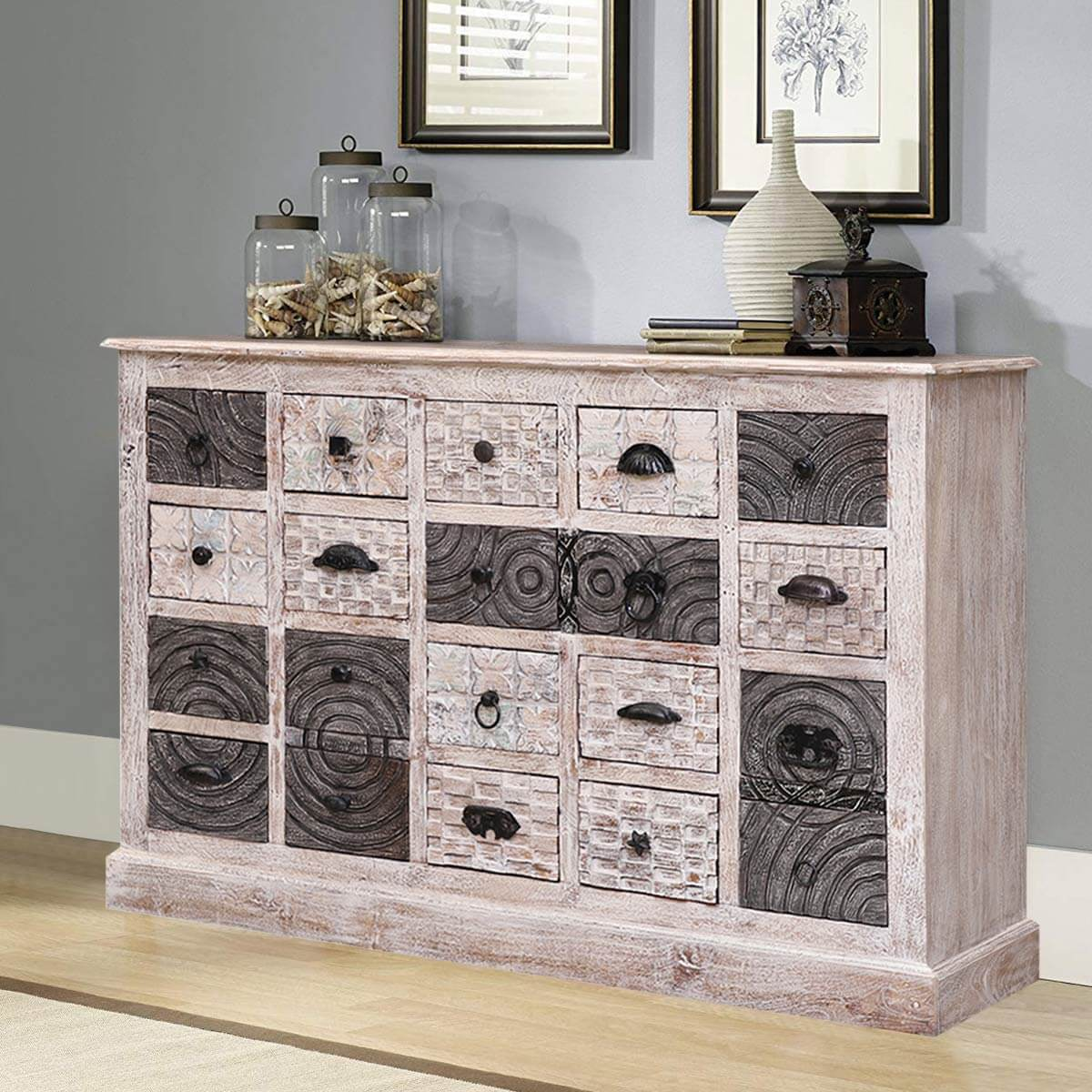 Arona Rustic Reclaimed 20 Drawer Dresser