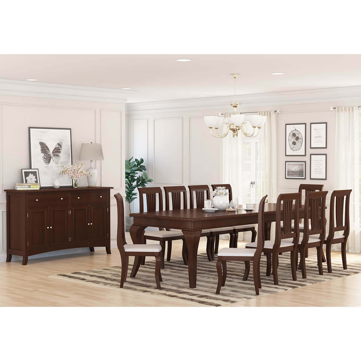 Dining Room Set For 12: Cromberg Solid Mahogany Wood 12 Piece Dining Room Set