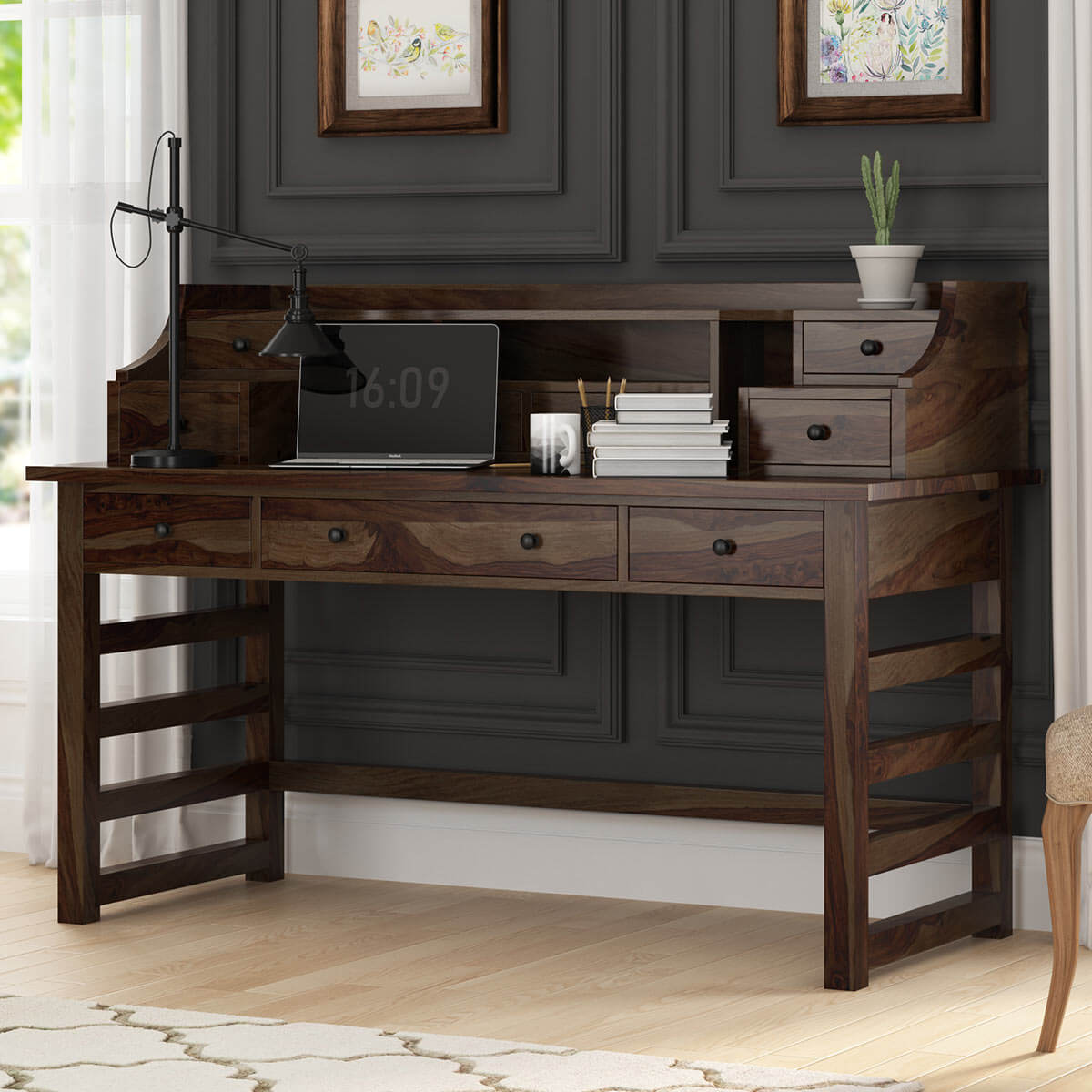 Everglades Rustic Solid Wood Secretary Writing Desk With Hutch