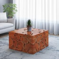 Rodin Solid Teak Wood Root Slice Square Coffee Table